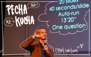 Cyriel Kortleven explaining the concept of bla bla in japanese... PECHA KUCHA